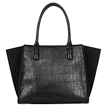 Buy Warehouse Croc Effect Day Bag, Black Online at johnlewis.com