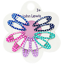 Buy John Lewis Girl Oval Dot Click Clack Clips, Pack of 10 Online at johnlewis.com