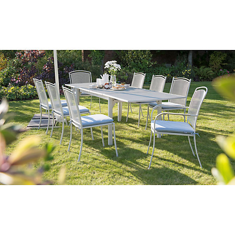 rectangular 6 8 seater extending outdoor dining table mocha light