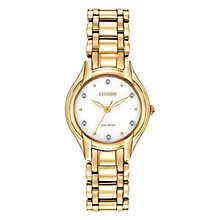 Buy Citizen L Silhouette EM0282-56A Women's Diamond and Gold-Tone Eco-Drive Stainless Steel Watch, White / Gold Online at johnlewis.com