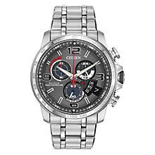 Buy Citizen Chrono Time A-T Men's Chronograph Eco-Drive Stainless Steel Watch, Grey / Silver Online at johnlewis.com