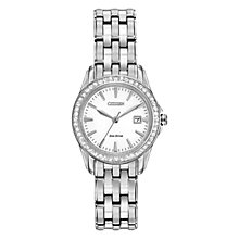 Buy Citizen L Silhouette Crystal EW1901-58A Women's Swarovski Crystal Eco-Drive Stainless Steel Watch, White / Silver Online at johnlewis.com