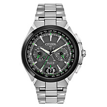 Buy Citizen Satellite Wave CC1084-63E Men's Chronograph Eco-Drive Stainless Steel Watch, Grey / Green / Silver Online at johnlewis.com