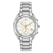Buy Citizen L Celestial FB1390-53A Women's Diamond and Gold-Tone Chronograph Eco-Drive Stainless Steel Watch, White / Gold / Silver Online at johnlewis.com