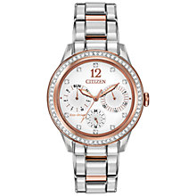 Buy Citizen L Silhouette Crystal FD2016-51A Swarovski Crystal and Rose Gold-Tone Chronograph Eco-Drive Stainless Steel Watch, White / Rose Gold / Silver Online at johnlewis.com