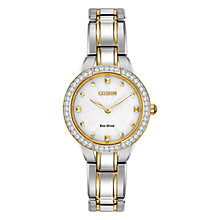 Buy Citizen L Silhouette Crystal EX1364-59A Women's Swarovski Crystal and Gold-Tone Two-Tone Eco-Drive Stainless Steel Watch, White / Gold / Silver Online at johnlewis.com