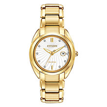 Buy Citizen L Celestial EM0312-57A Women's Diamond and Gold-Tone Eco-Drive Stainless Steel Watch, White / Gold Online at johnlewis.com