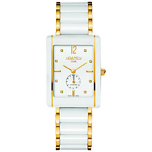 Buy Roamer 690855 48 29 60 Womens Ceraline Square Watch, White / Gold Online at johnlewis.com