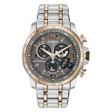Buy Citizen Chrono Time A-T BY0106-55H Men's Chronograph Eco-Drive Two Tone Stainless Steel Watch, Grey / Rose Gold / Silver Online at johnlewis.com