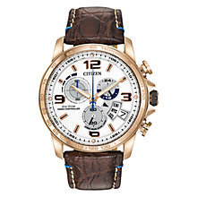Buy Citizen Chrono-Time A-T BY0103-02A Men's Chronograph Eco-Drive Limited Edition Stainless Steel and Leather Strap Watch, White / Rose Gold / Brown Online at johnlewis.com
