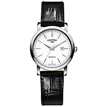 Buy Roamer 709844 41 25 07 Women's Classic Leather Strap Watch, Black/White Online at johnlewis.com
