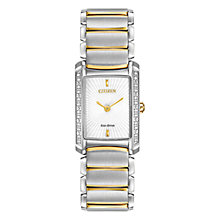 Buy Citizen L Euphoria EG2964-56A Women's Diamond Two Tone Rhodium Plated Stainless Steel Eco-Drive Watch, White / Gold / Silver Online at johnlewis.com