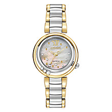 Buy Citizen L Sunrise EM0324-58D Women's Diamond and Mother of Pearl Two-Tone Eco-Drive Stainless Steel Watch, Pearl / Gold / Silver Online at johnlewis.com