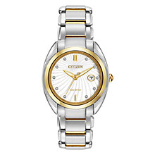 Buy Citizen L Celestial EM0314-51A Women's Diamond and Gold-Tone Two-Tone Eco-Drive Stainless Steel Watch, White / Gold / Silver Online at johnlewis.com