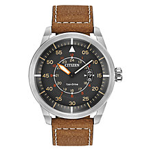 Buy Citizen Avion AW1361-10H Men's Eco-Drive Stainless Steel Leather Strap Watch, Grey / Tan Online at johnlewis.com