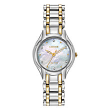 Buy Citizen L Silhouette EM0284-51D Women's Diamond and Mother of Pearl Eco-Drive Two Tone Stainless Watch Online at johnlewis.com