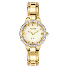 Buy Citizen L Silhouette Crystal EX1362-54P Women's Swarovski Crystal Gold-Tone Eco-Drive Stainless Steel Watch, Champagne / Gold Online at johnlewis.com
