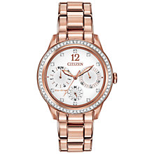 Buy Citizen L Silhouette Crystal FD2013-50A Women's Swarovski Crystal Rose Gold-Tone Chronograph Eco-Drive Stainless Steel Watch, White / Rose Gold Online at johnlewis.com