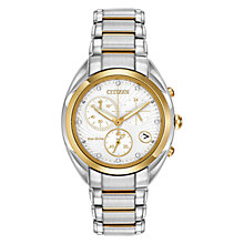 Buy Citizen L Celestial FB1390-53A Women's Diamond and Gold-Tone Chronograph Two-Tone Eco-Drive Stainless Steel Watch, White / Gold / Silver Online at johnlewis.com
