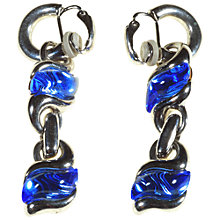 Buy Alice Joseph Vintage Swarovski Stone Drop Clip-On Earrings, Blue Online at johnlewis.com