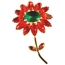 Buy Alice Joseph Vintage 1950s Diamante Flower Brooch, Green / Orange Online at johnlewis.com