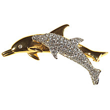 Buy Alice Joseph Vintage 1980s Swarovski White Diamante Dolphin Brooch, White / Gold Online at johnlewis.com