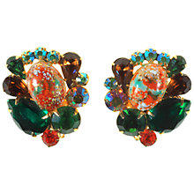 Buy Alice Joseph Vintage 1960s Delizza & Elster Juliana Diamante Clip-On Earrings, Green/Orange Online at johnlewis.com