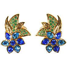 Buy Alice Joseph Vintage Swarovski Diamante Flower Clip-On Earrings, Blue Online at johnlewis.com