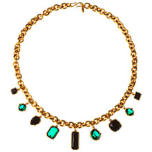 Buy Alice Joseph Vintage 1980s Monet Chunky Chain Diamante Stone Necklace, Black / Green Online at johnlewis.com