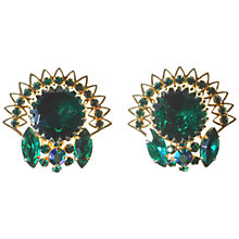 Buy Alice Joseph Vintage 1950s Judy Lee Diamante Clip-On Earrings, Green Online at johnlewis.com