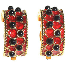 Buy Alice Joseph Vintage Nina Ricci Enamel Black Stone Clip-On Earrings, Red / Black Online at johnlewis.com