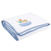 Buy John Lewis Baby Noah's Ark Fleece Pram Blanket, Blue/White Online at johnlewis.com