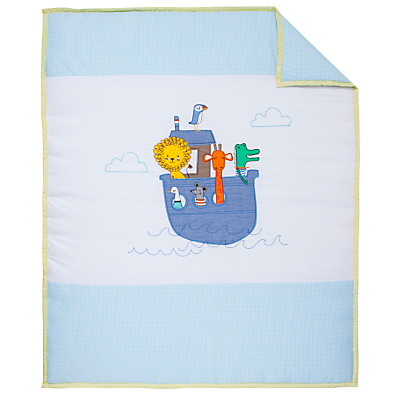 Image of John Lewis Baby Noah's Ark Cot/Cotbed Quilt, Blue/White
