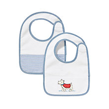 Buy John Lewis Baby Dog Towelling Bibs, Pack of 2, Blue/White Online at johnlewis.com