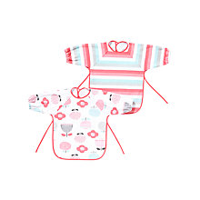 Buy John Lewis Baby's Floral Bibs, Pack of 2, Red Online at johnlewis.com