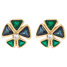 Buy Susan Caplan Vintage 1980s Christian Dior Swarovski Crystal Posy Earrings, Green / Blue Online at johnlewis.com