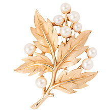 Buy Susan Caplan Vintage 1960s Trifari Faux Pearl Bough Brooch, Gold / Pearl Online at johnlewis.com