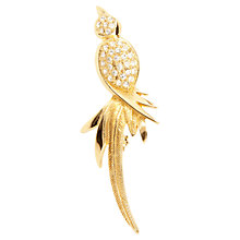 Buy Susan Caplan Vintage 1980s Christian Dior Swarovski Crystal Bird of Paradise Brooch, Gold / Clear Online at johnlewis.com