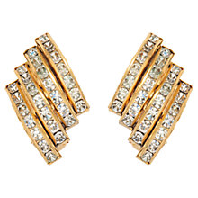 Buy Susan Caplan Vintage 1980s Butler & Wilson Swarovski Crystals Deco-Style Earrings, Gold / Clear Online at johnlewis.com
