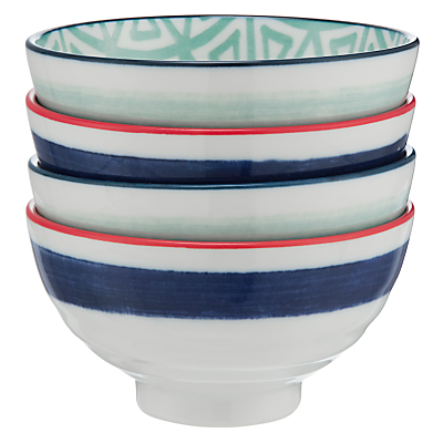 John Lewis Oriental Bowls, Blue/Red, Small, Set of 4