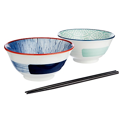 John Lewis Orient Bowl and Chopsticks, Set of 2, Blue