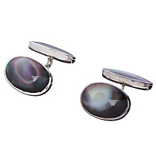 Buy John Lewis Double Oval Chain Sterling Silver Cufflinks, Black Shell Online at johnlewis.com