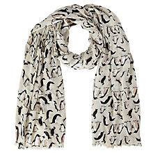 Buy John Lewis Penguin Print Scarf, Natural Online at johnlewis.com