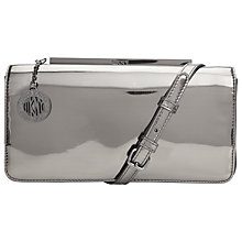 Buy DKNY Mirror Leather Clutch Bag, Silver Online at johnlewis.com