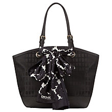 Buy DKNY Scarf Leather Shopper Bag, Black Online at johnlewis.com
