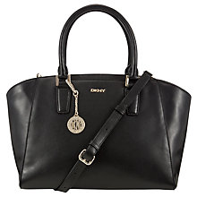 Buy DKNY Greenwich Large Leather Satchel, Black Online at johnlewis.com