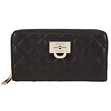 Buy DKNY Quilted Leather Large Zip Purse, Black Online at johnlewis.com