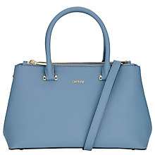 Buy DKNY Bryant Medium Zip Leather Shopper Bag, Light Blue Online at johnlewis.com