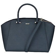 Buy DKNY Bryant Large Leather Satchel Bag, Navy Online at johnlewis.com