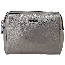 Buy DKNY Tribeca Leather Medium Cosmetics Bag, Silver Online at johnlewis.com